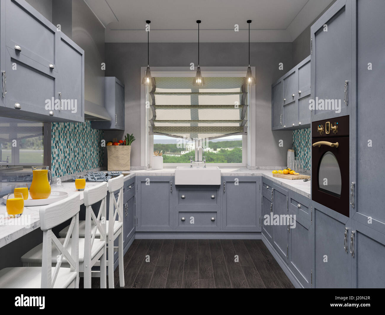 3d illustration of the interior design of the beautiful kitchen in a classic style render the visualization of the interior in a modern in gray tones