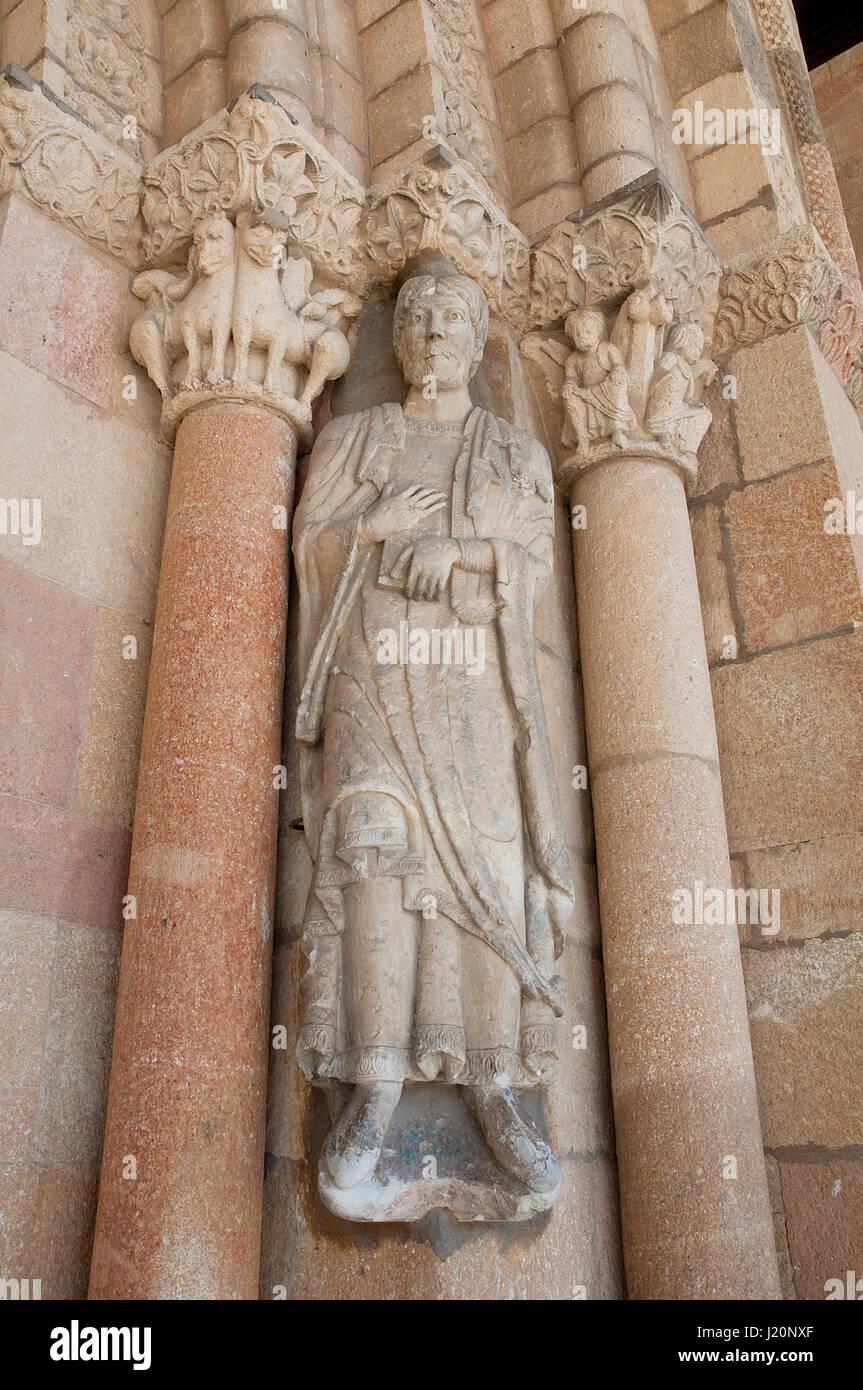 Facade of San Vicente church, close view. Avila, Spain. - Stock Image
