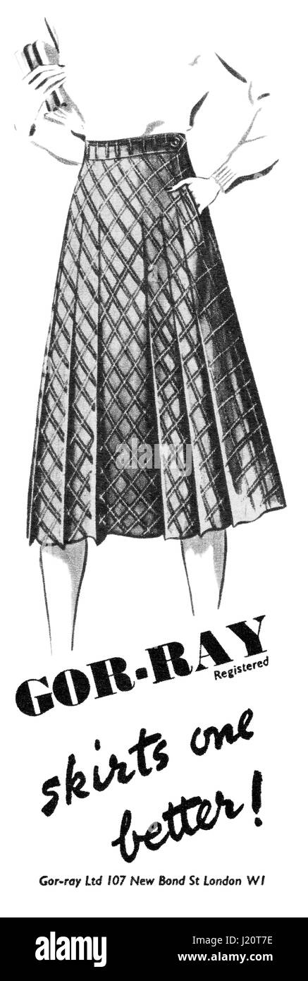 1947 British eighth-page advertisement for Gor-Ray Skirts. - Stock Image