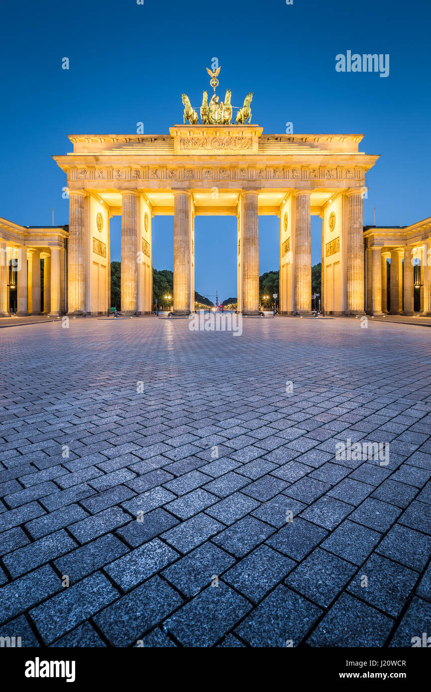 Classic vertical view of historic Brandenburg Gate, Germany's most famous landmark and a national symbol, in - Stock Image