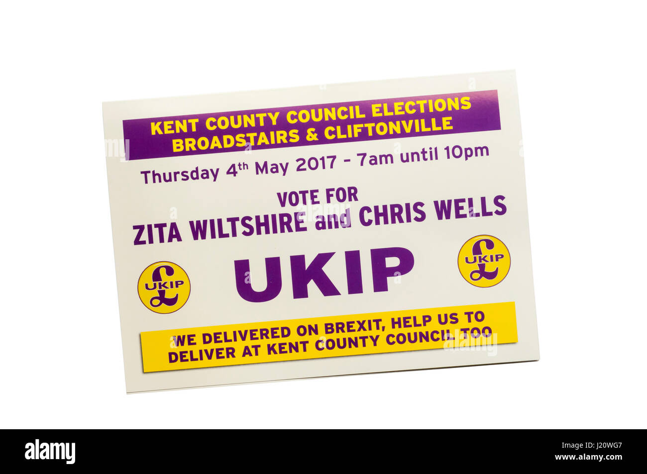 Election leaflet from right wing UKIP, UK Independence party. Canvassing for 2017 Kent County Council elections - Stock Image