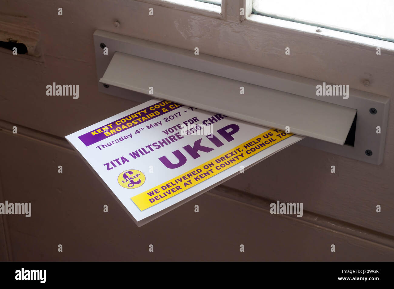 Election leaflet from right wing UKIP, UK Independence party, delivered through letterbox in Thanet. Canvassing - Stock Image