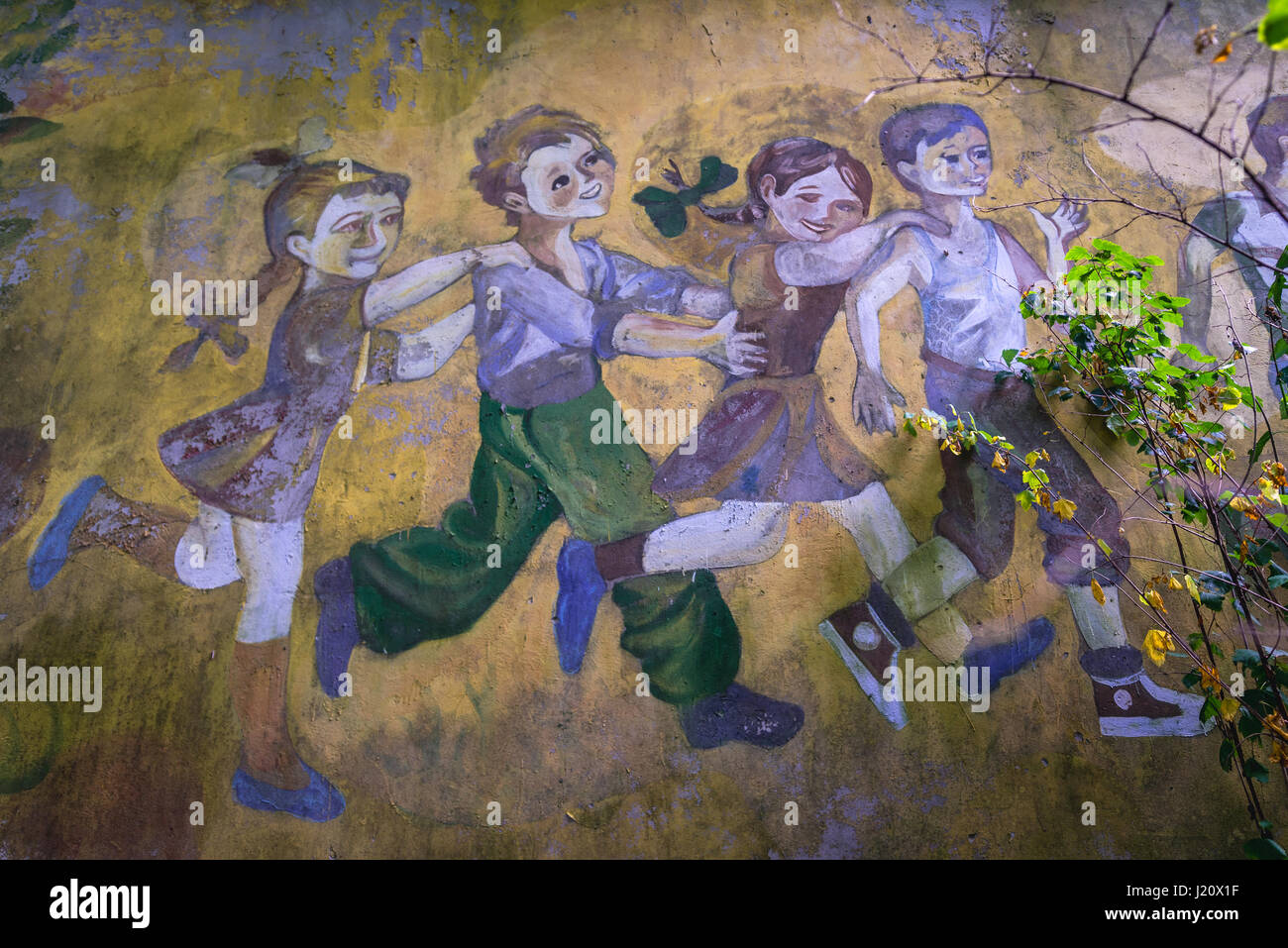 drawing on a kindergarten wall in chernobyl 2 military base stock