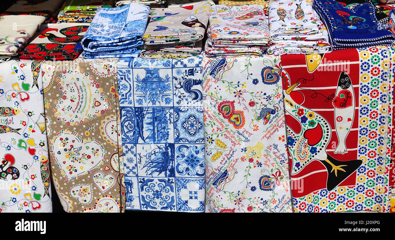 Tablecloths Porto, Portugal - Stock Image