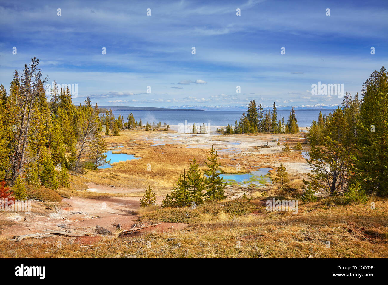 Autumn landscape with hot springs and geysers in Yellowstone National Park, Wyoming, USA. - Stock Image