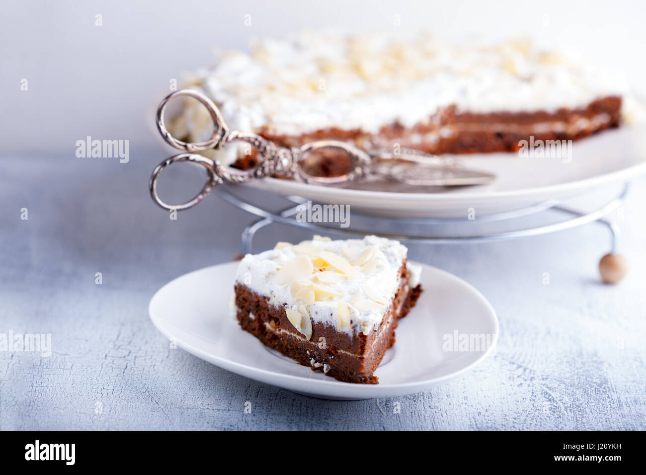 A slice of carrot cake - Stock Image