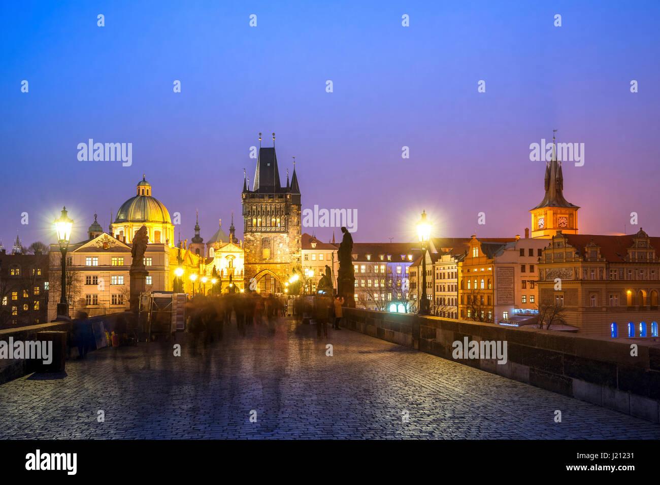 Czechia, Prague, Charles bridge at the blue hour - Stock Image
