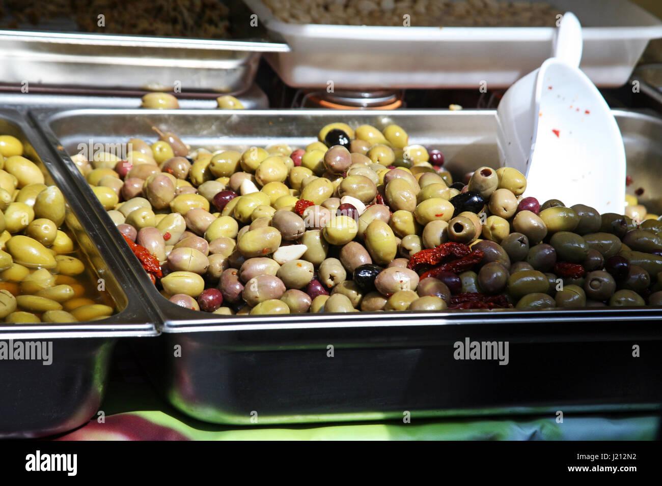 Italian delights,olives,springtime fair in Zagreb,Croatia,Europe,1 - Stock Image