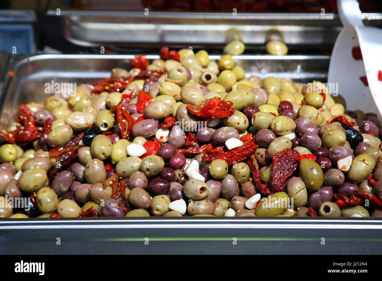 Italian delights,olives,springtime fair in Zagreb,Croatia,Europe,3 - Stock Image