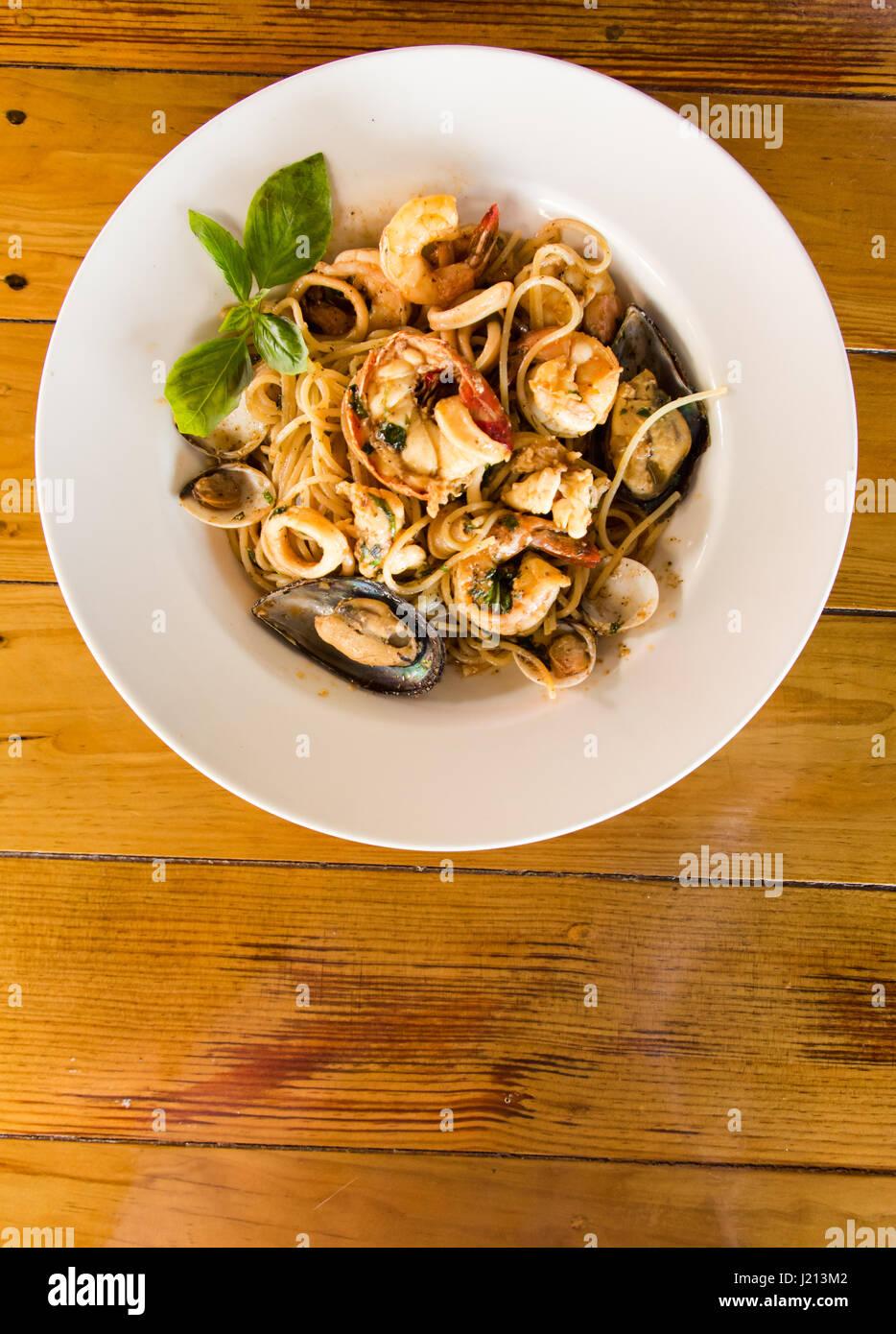 Seafood Pasta - Stock Image