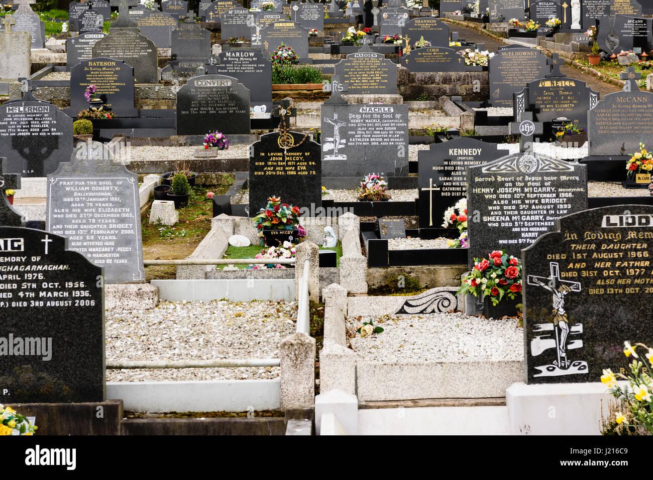 Gravestones at a Roman Catholic church graveyard Stock Photo