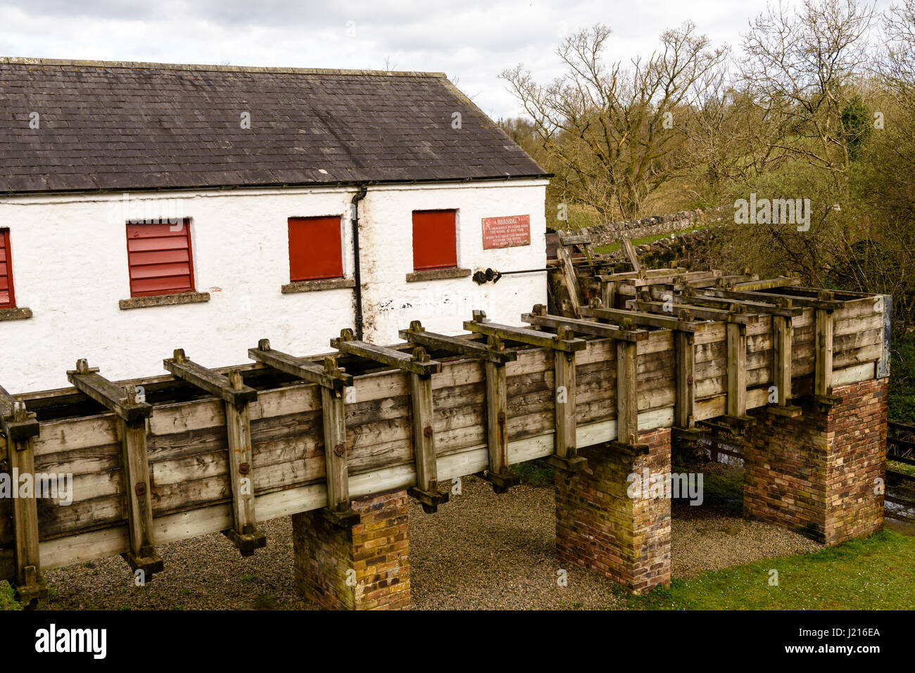 Mill race, to divert water to the waterwheel at Wellbrook Beetling Mill, Cookstown, Northern Ireland - Stock Image