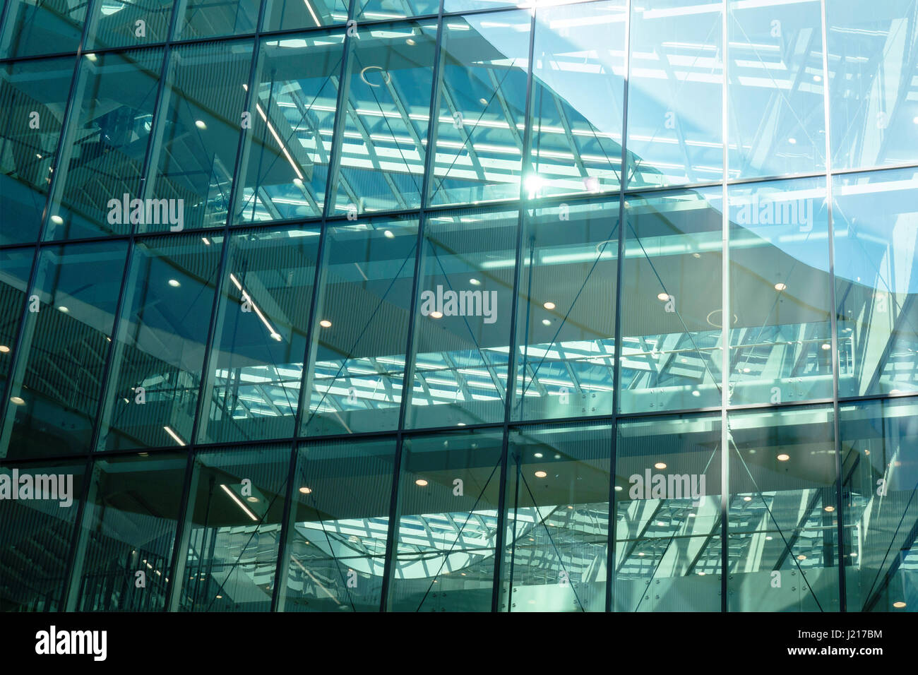 Glass wall of mordern office building - Stock Image