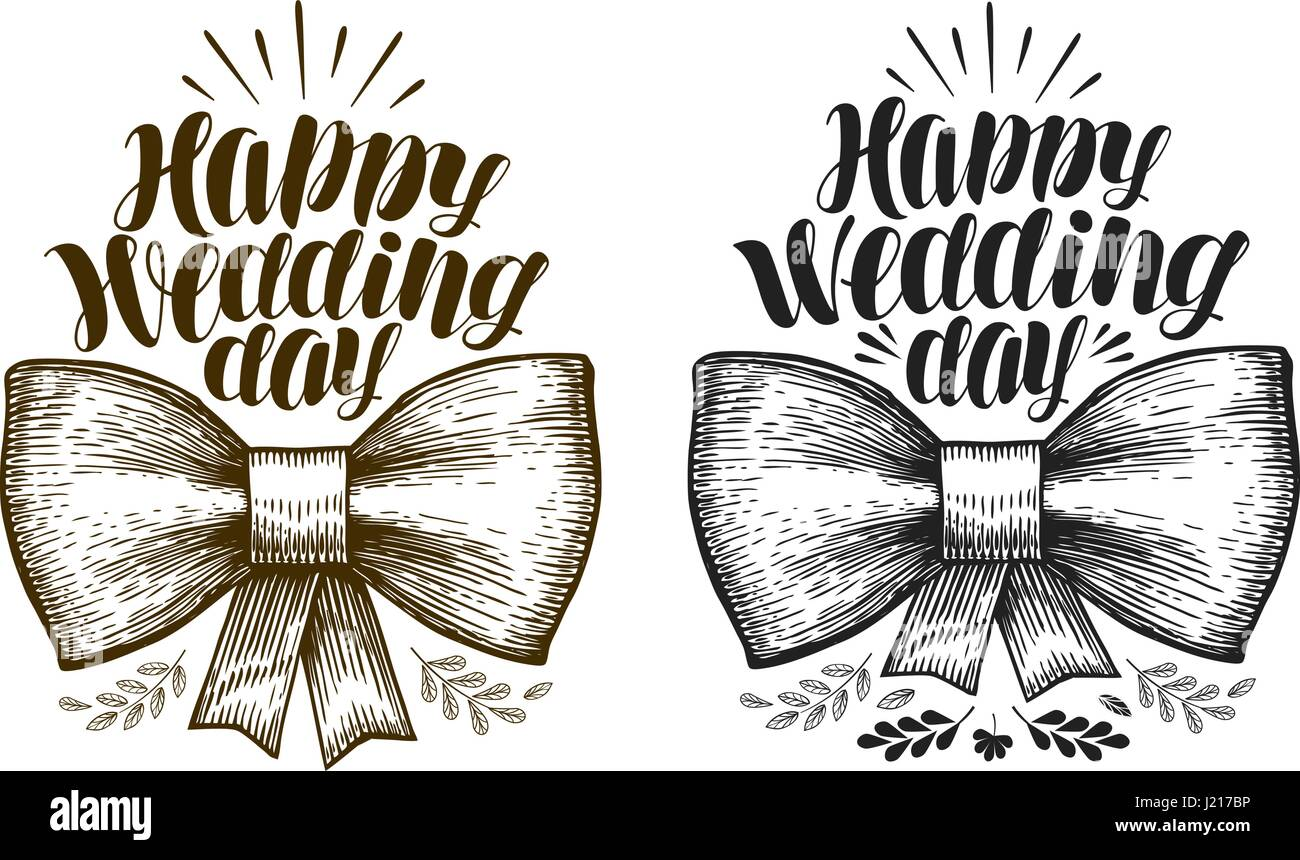 Happy Wedding day, label. Marriage, wed banner. Lettering, calligraphy vector illustration - Stock Image