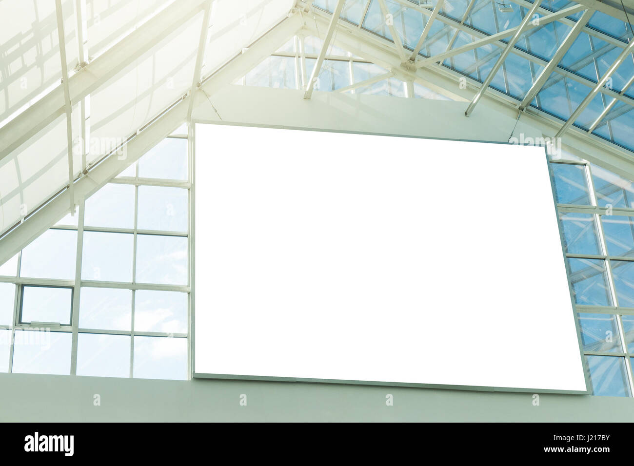 Large blank signboard in the shopping mall - Stock Image