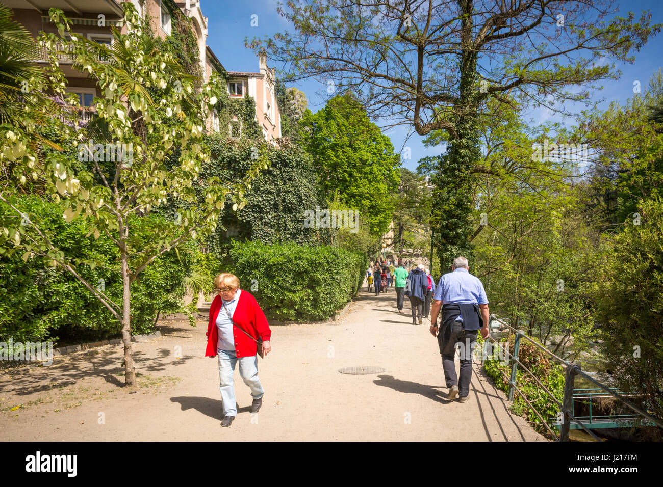 The most beautiful promenade in Merano is, however, the Tappeiner Trail, crossing the sunny south side of the Küchelberg. - Stock Image