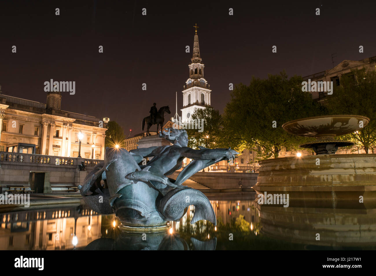 Trafalgar Square by Night. April 2017, London, UK - Stock Image