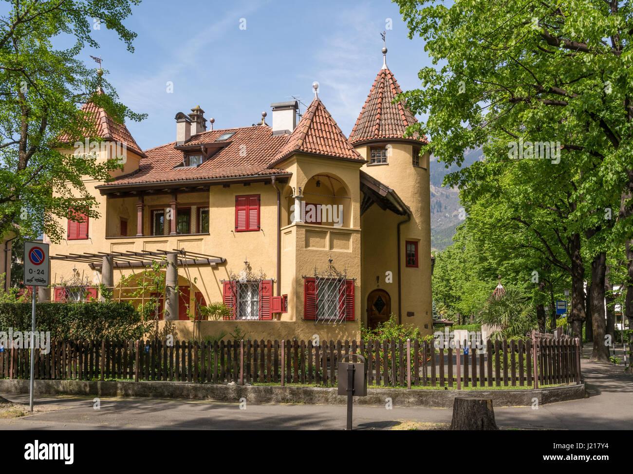 Typical South Tyrol residence. Merano, Bolzano, italy. - Stock Image