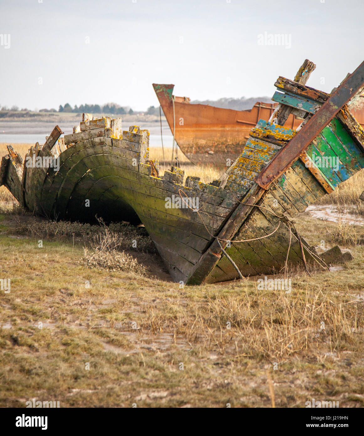 a warped and contorted wreck of the wyre estuary, Lancashire UK - Stock Image