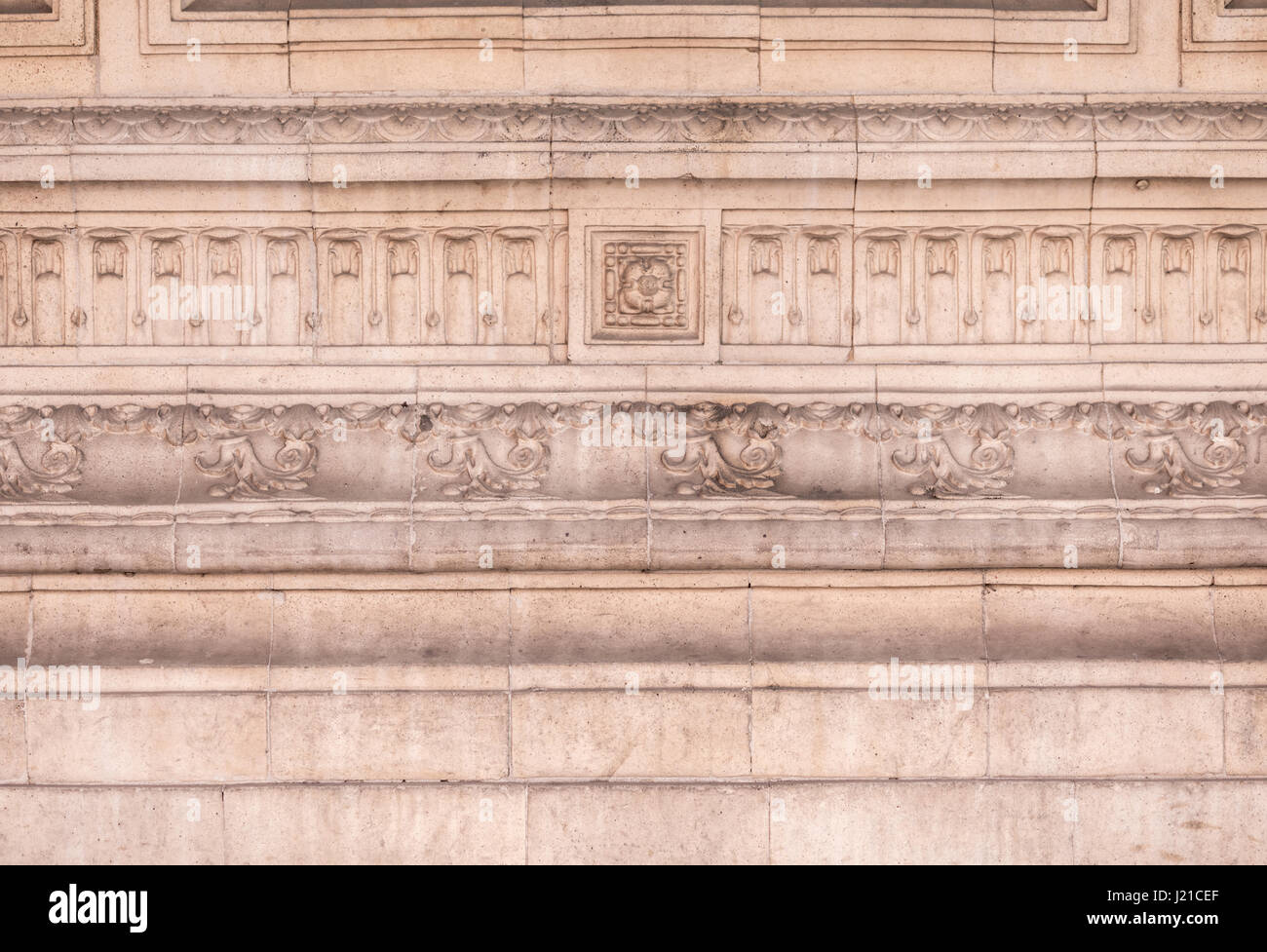 elaborately carved stone molding on the facade of an old building in London, England, UK - Stock Image