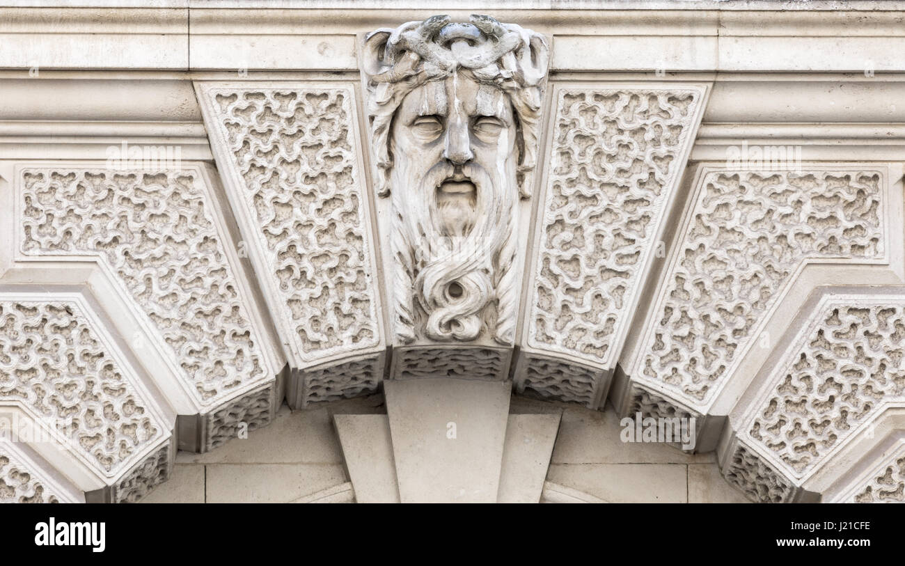 architectural element on the facade of a building in London England, UK - Stock Image