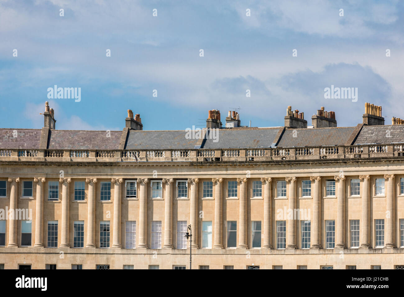 a detailed image of the royal Cresent in the city of Bath England, UK - Stock Image