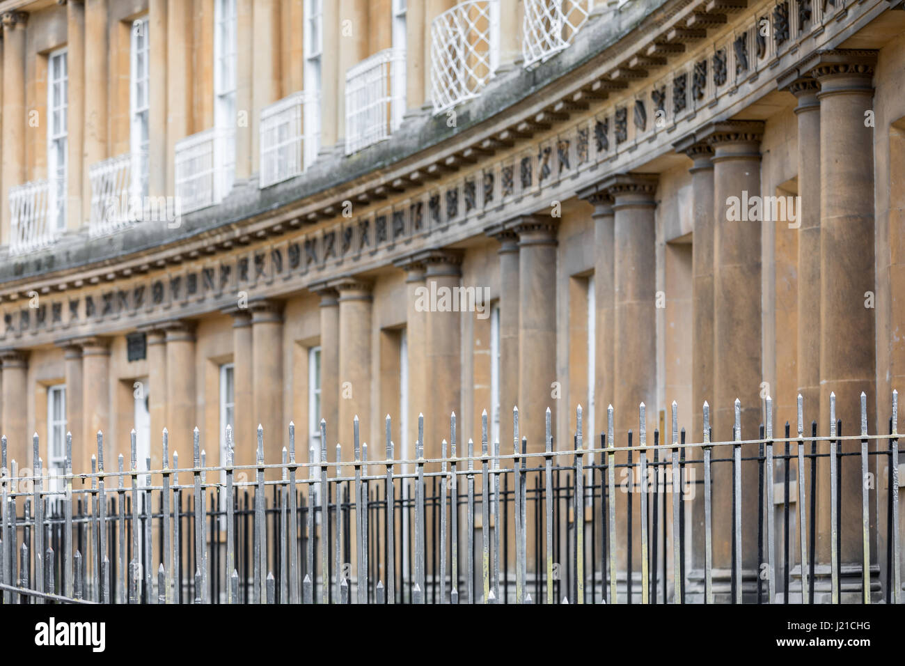 a detail image of the royal Cresent in Bath, England, UK - Stock Image