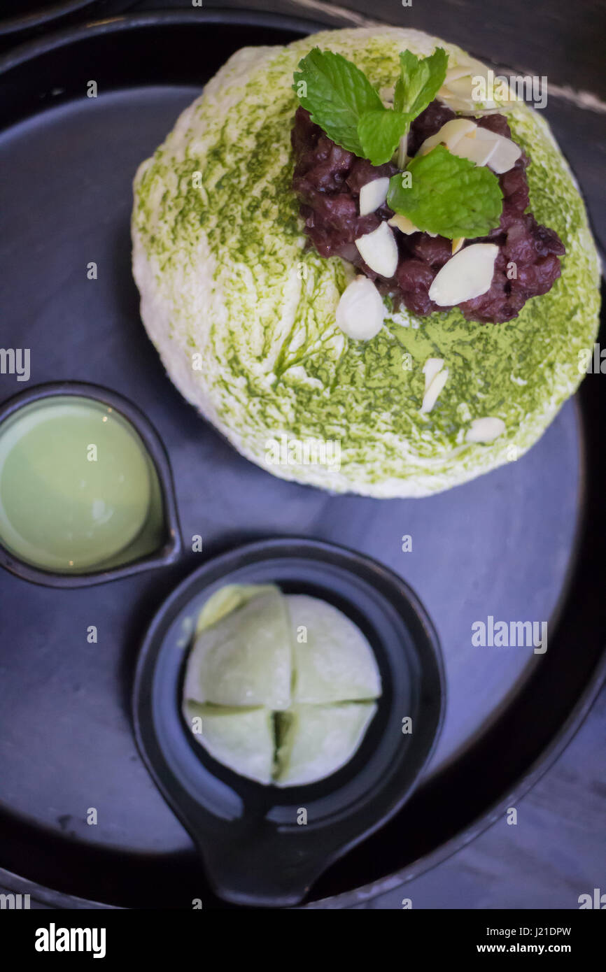 Green Tea Mochi Iced Cream And Shaved Ice, stock photo - Stock Image