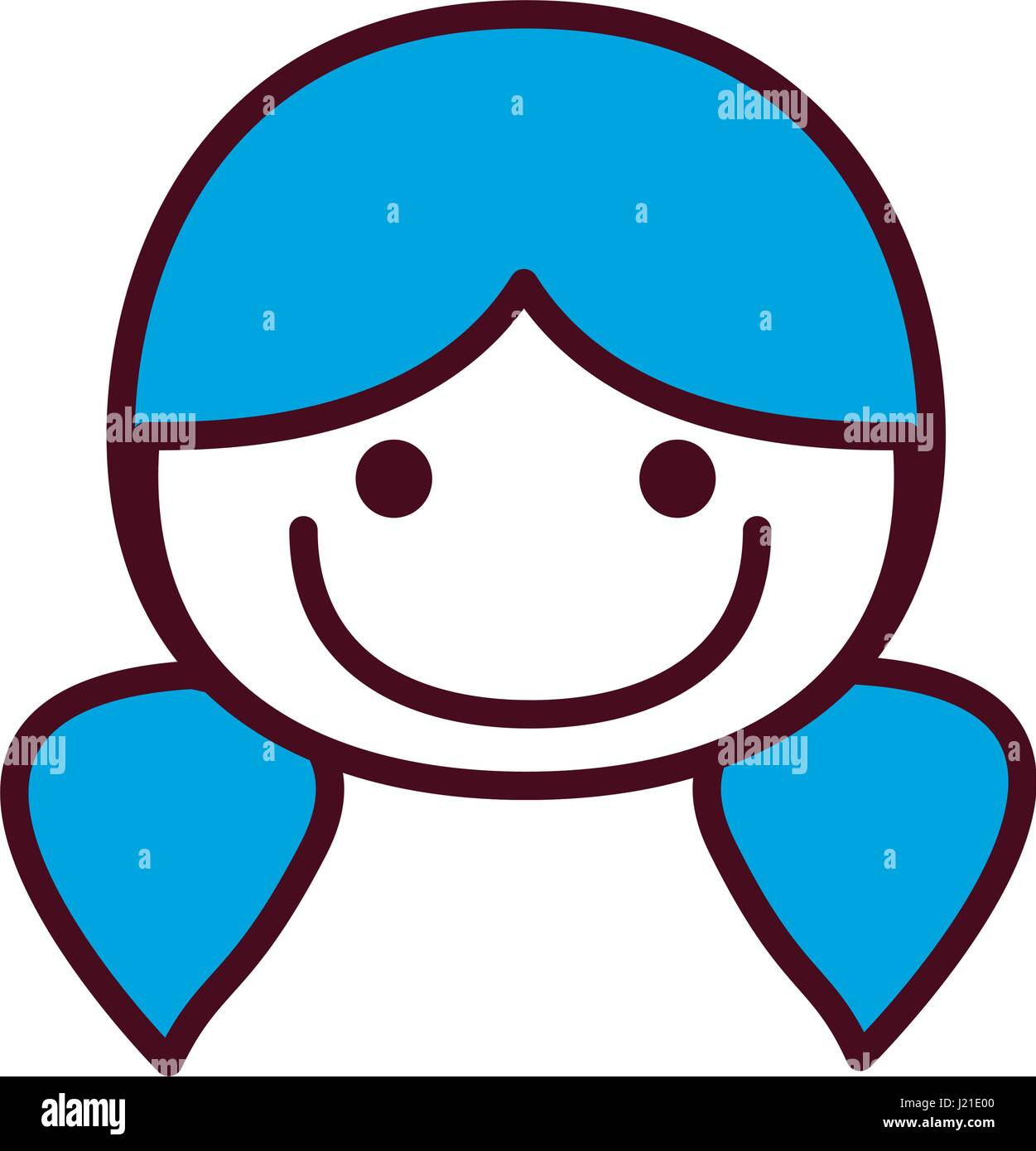 Hand Drawing Silhouette Front Face Girl With Blue Pigtails Hairstyle