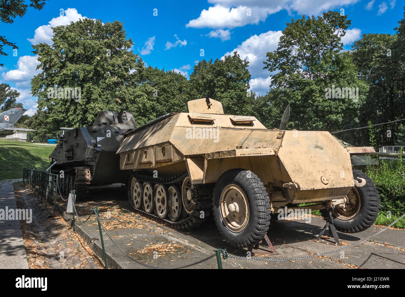Sd.Kfz.251/1 Ausf. D, German armoured personnel carrier, one of the displays at the Museum of the Polish Army - - Stock Image