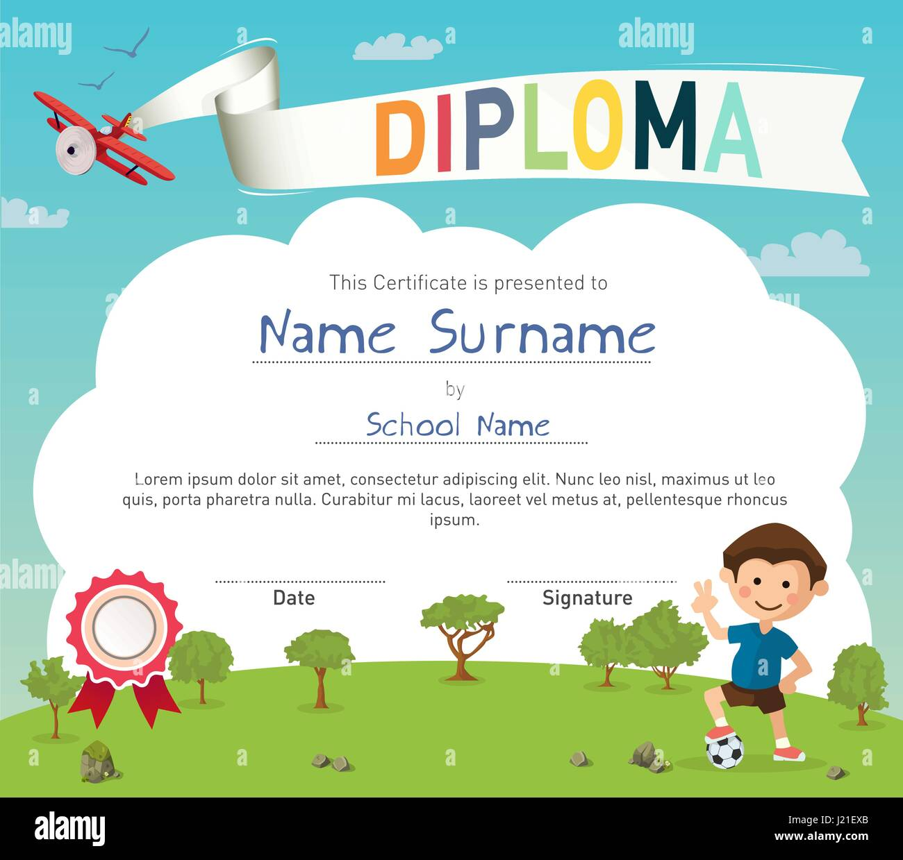Colorful kids summer camp diploma certificate template Stock Vector ...