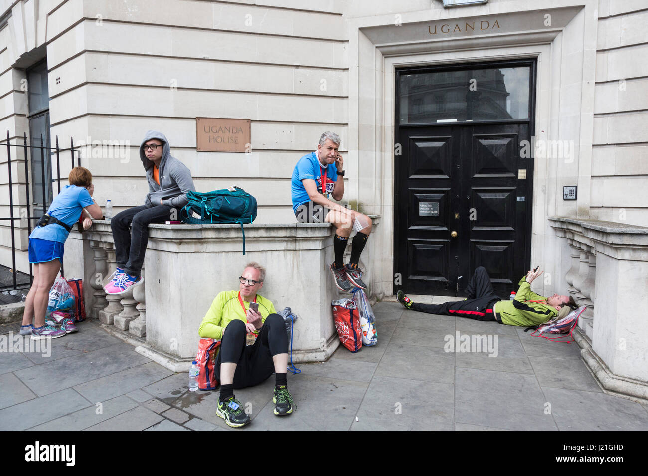 London, UK. 23rd Apr, 2017. Runners chill out after having successfully completed the 37th London Marathon. Credit: - Stock Image