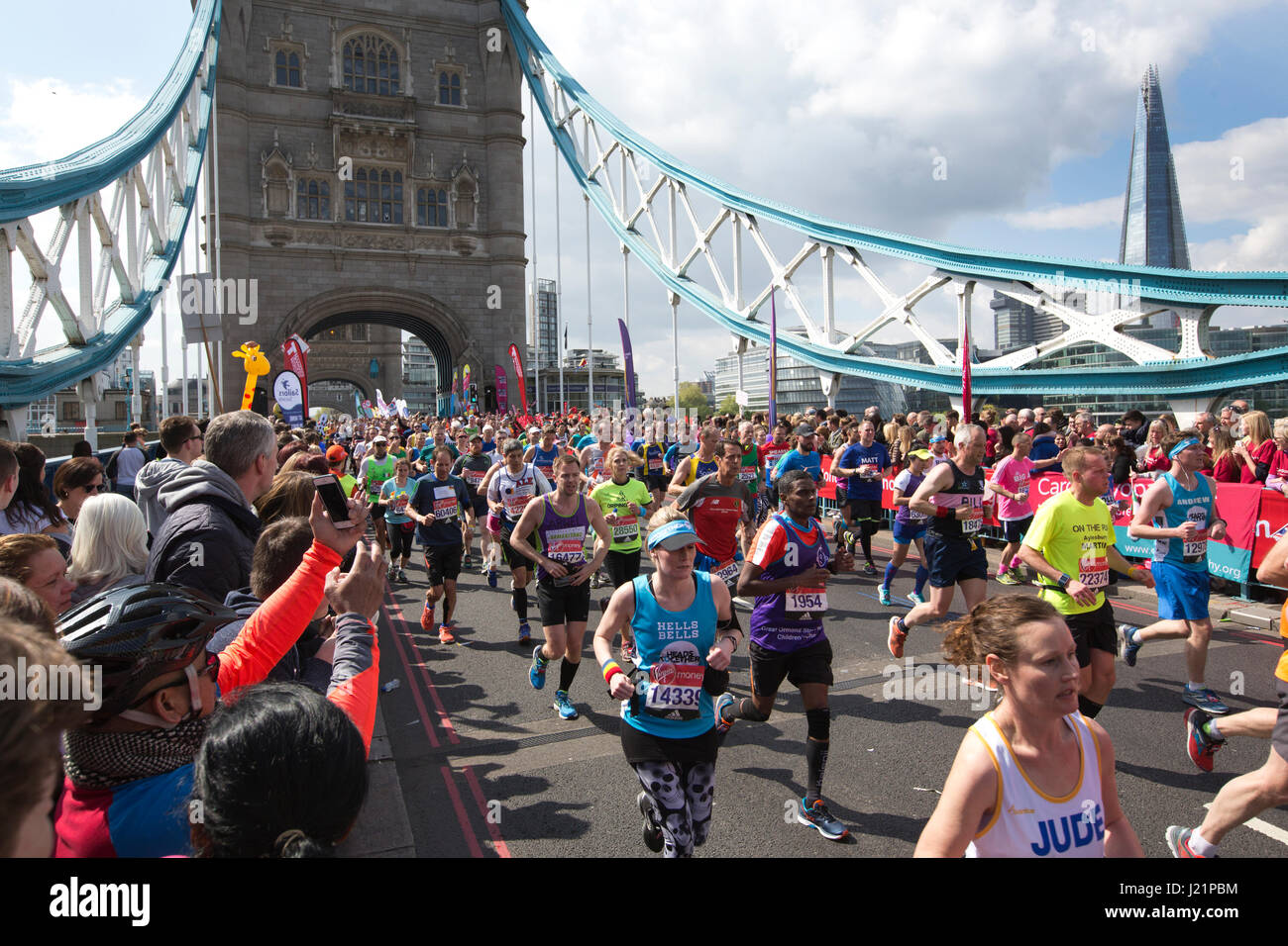 London, UK. 23rd April, 2017. LONDON MARATHON 2017. Today an estimated 50,000 runners took to the streets of the Stock Photo