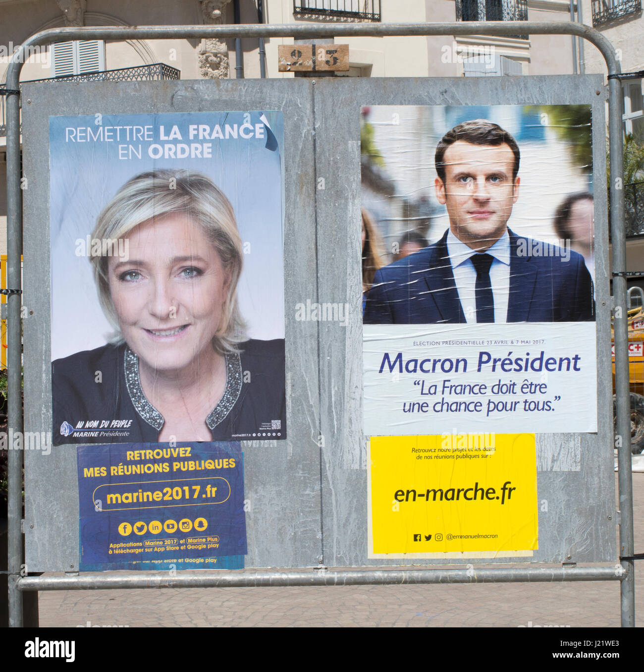 Election posters of the two front runners of the french presidential elections, Marine LePen and emmanuel macron - Stock Image