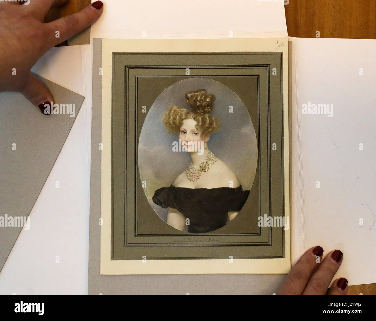 Moscow, Russia. 24th Apr, 2017. Karl Bryullov's portrait of Grand Duchess Elena Pavlovna (1829) on display at - Stock Image