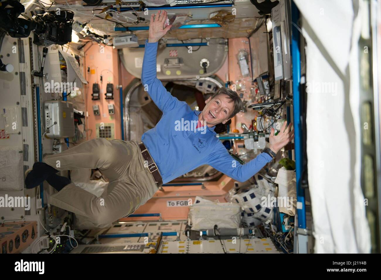 American astronaut Peggy Whitson celebrates after smashing the record for the most cumulative time in space by an - Stock Image