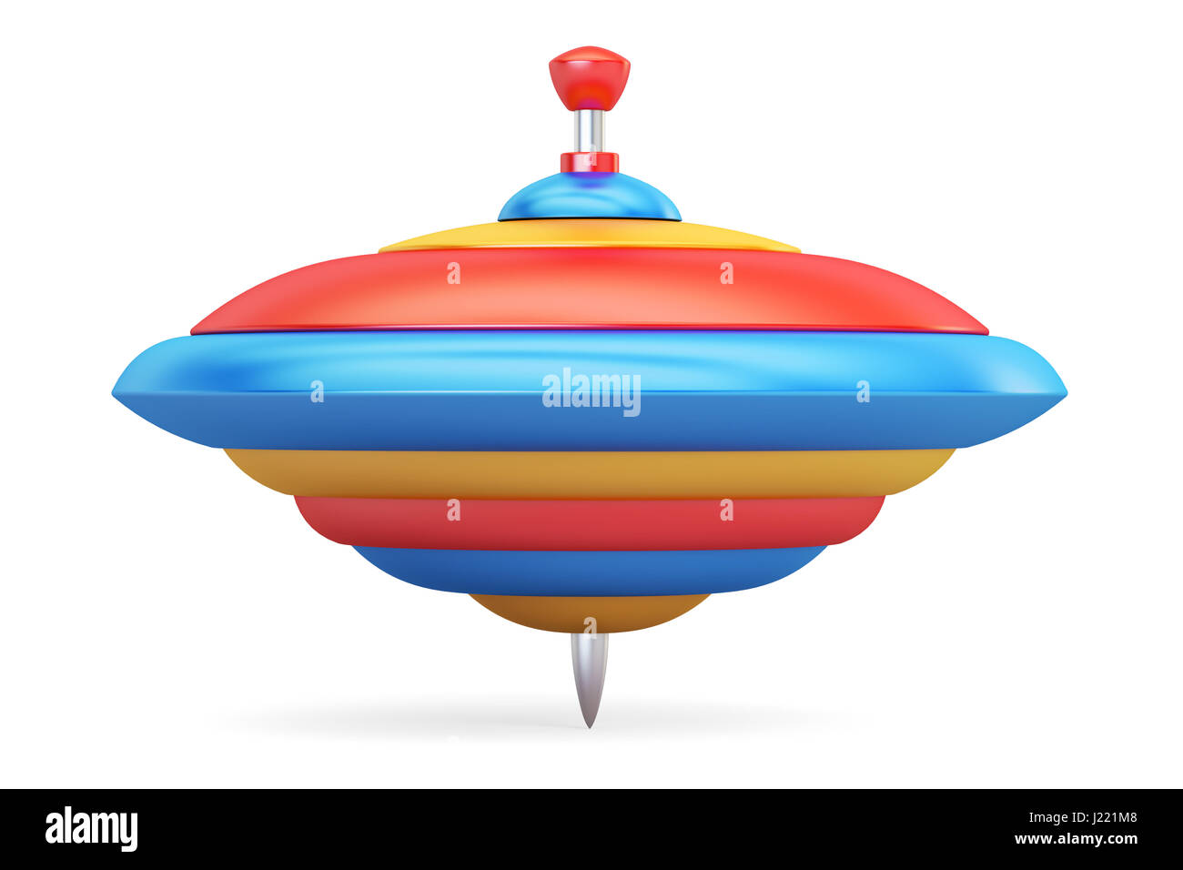 Whirligig top closeup, 3d rendering isolated on white background - Stock Image