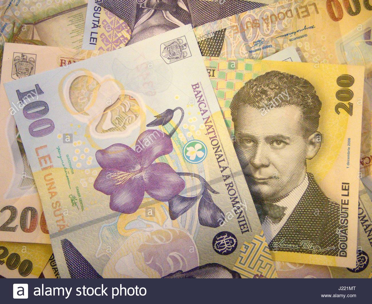 Various Scattered Romanian Currency Lei Ron Stock Photo 138957528