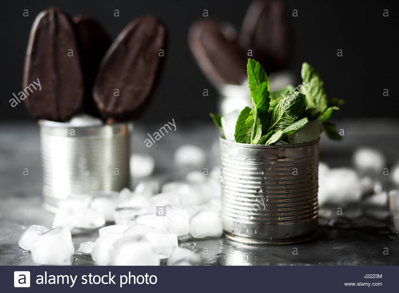 Chocolate ice cream on a stick in an iron jar on a black background. Chocolate dessert. Ice. Fresh mint Stock Photo