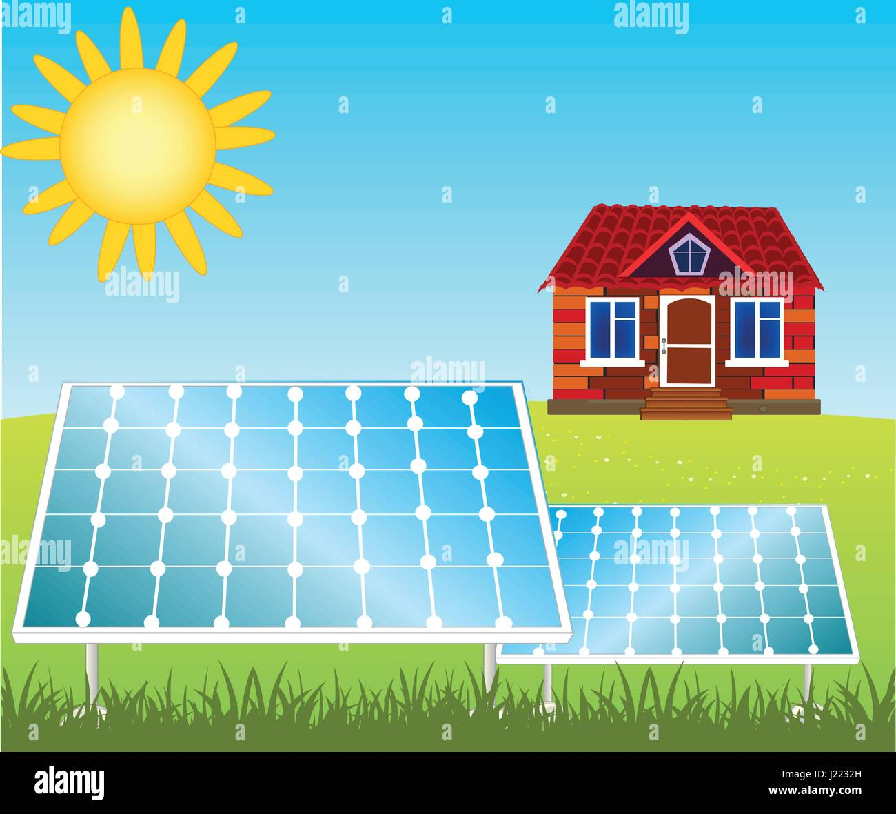 House and solar panels - Stock Vector