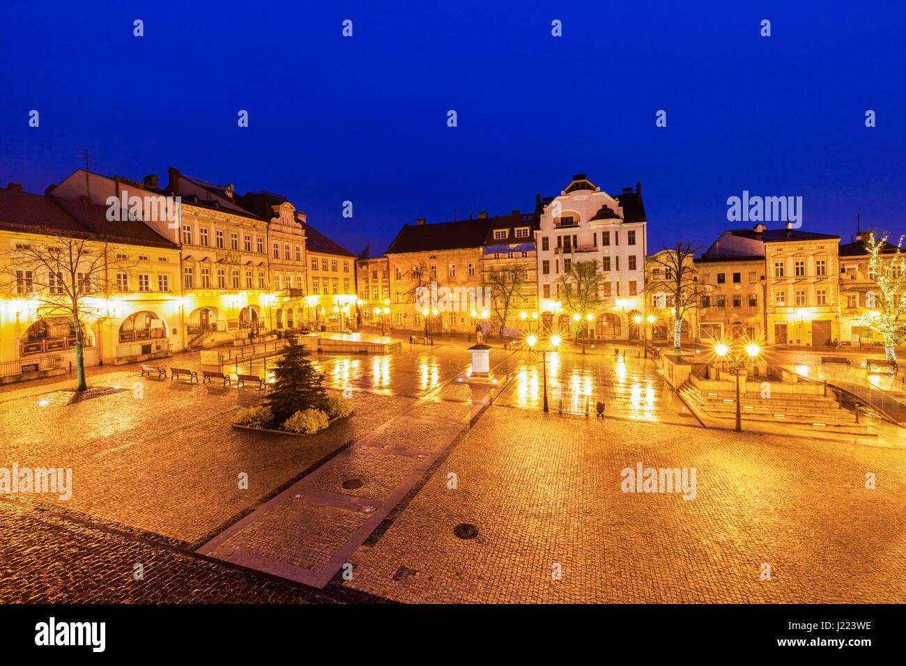 Main Square in Bielsko-Biala. Bielsko-Biala, Silesia, Poland. - Stock Image