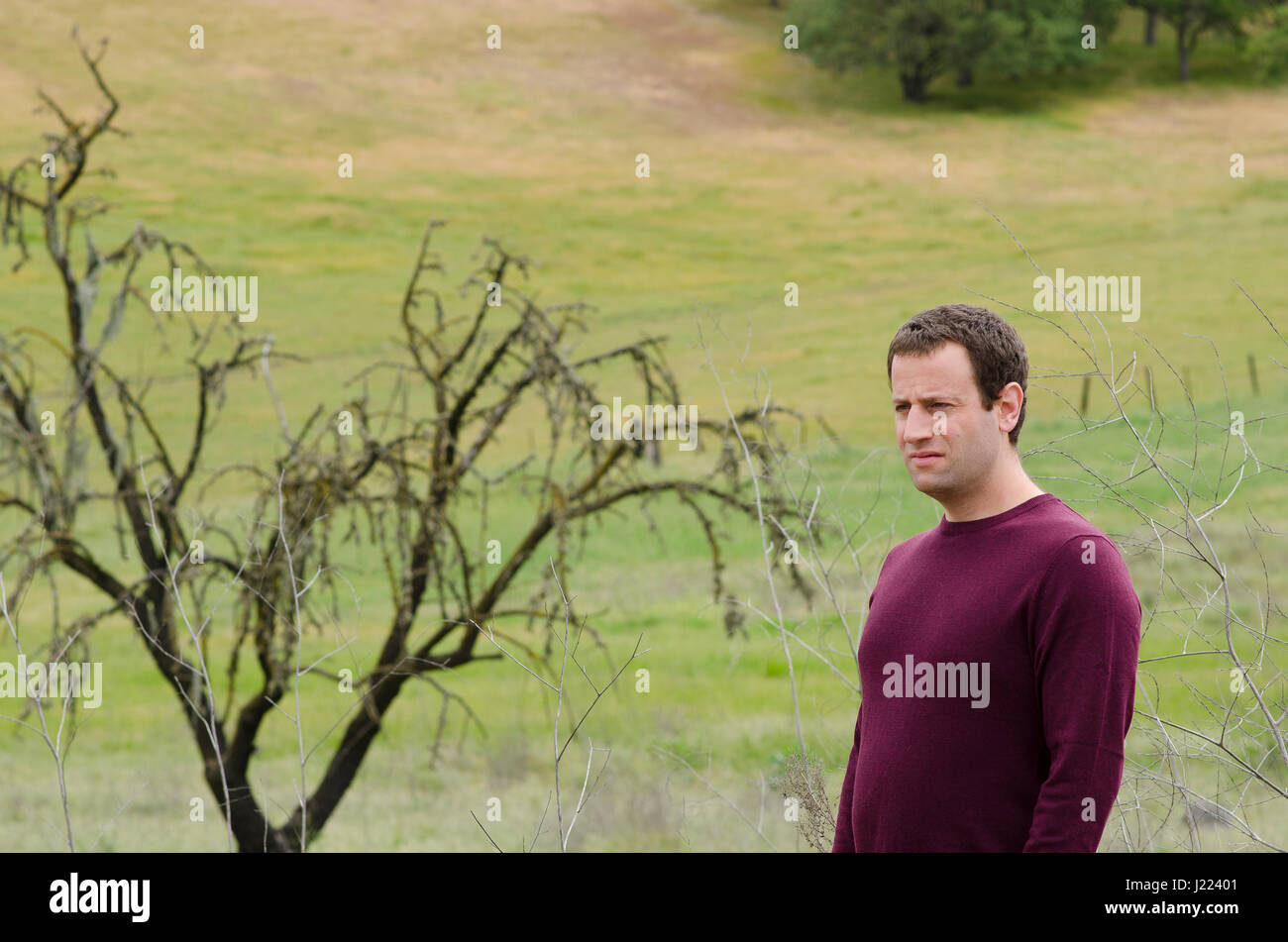 Man in deep thought in an open grassy field with a bare tree in the background. - Stock Image