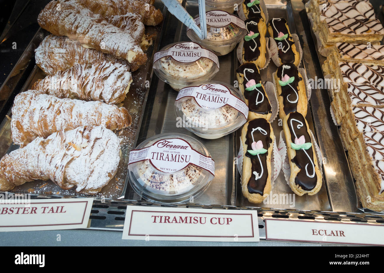 Italian pastry display at Ferrera Bakery in Little Italy in New York City - Stock Image