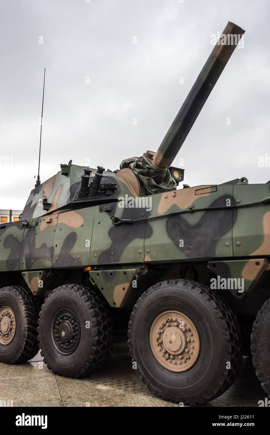 Modern Polish self-propelled 120 mm automatic mortar used by the Armed Forces of the Republic of Poland - Warsaw, - Stock Image