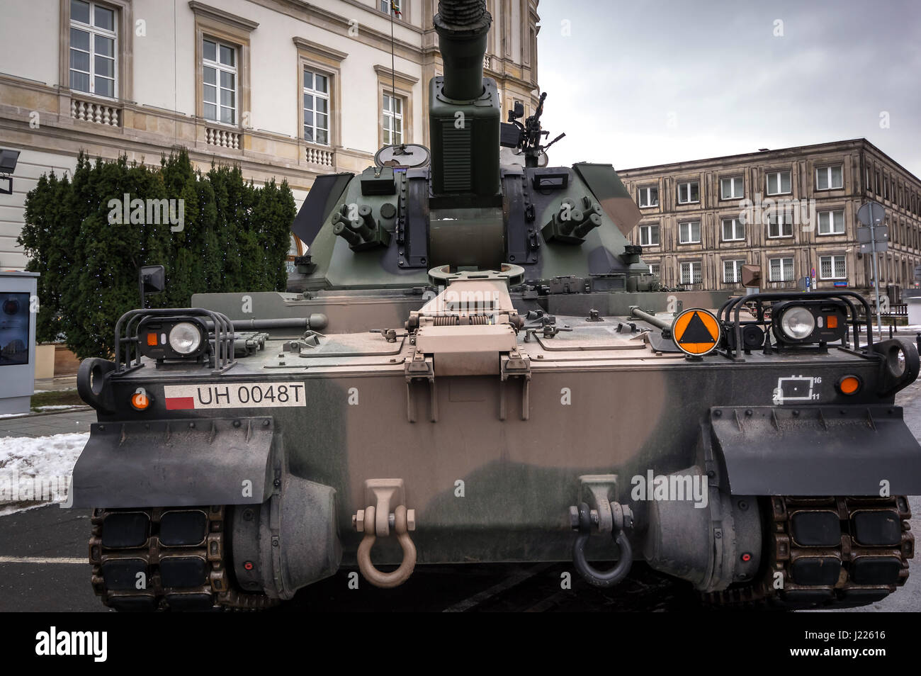 Modern Polish self-propelled 155 mm howitzer used by the Armed Forces of the Republic of Poland - Warsaw, Poland. - Stock Image
