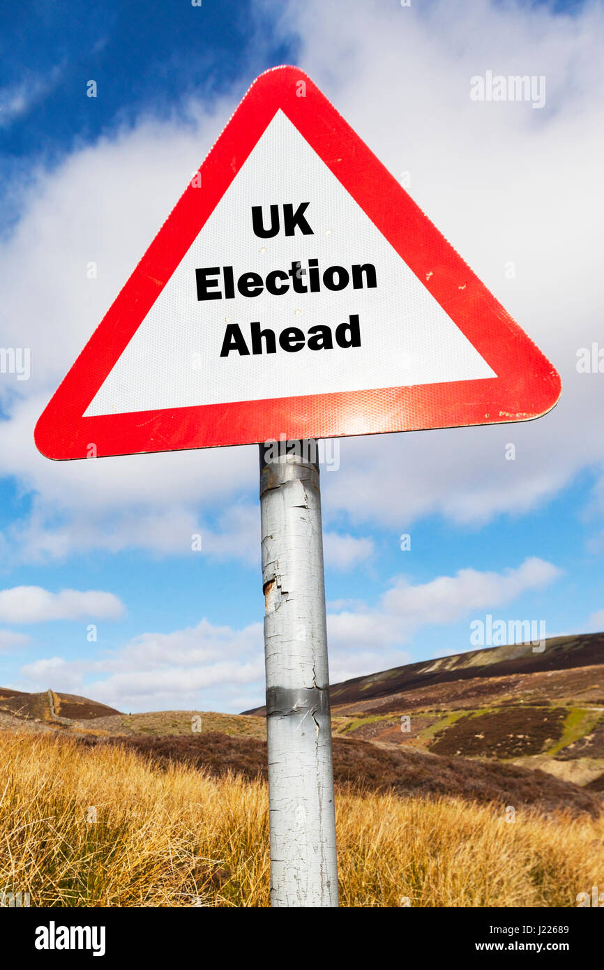 upcoming general election UK election ahead sign UK political parties Labour conservative Ukip Lib Dem BNP Greens - Stock Image