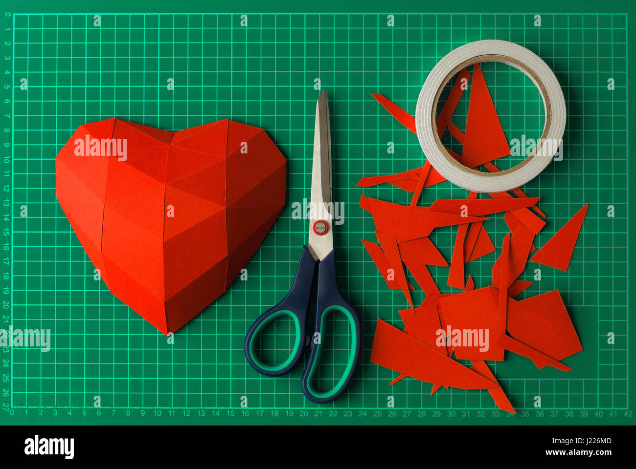 paper craft work made with love - Stock Image