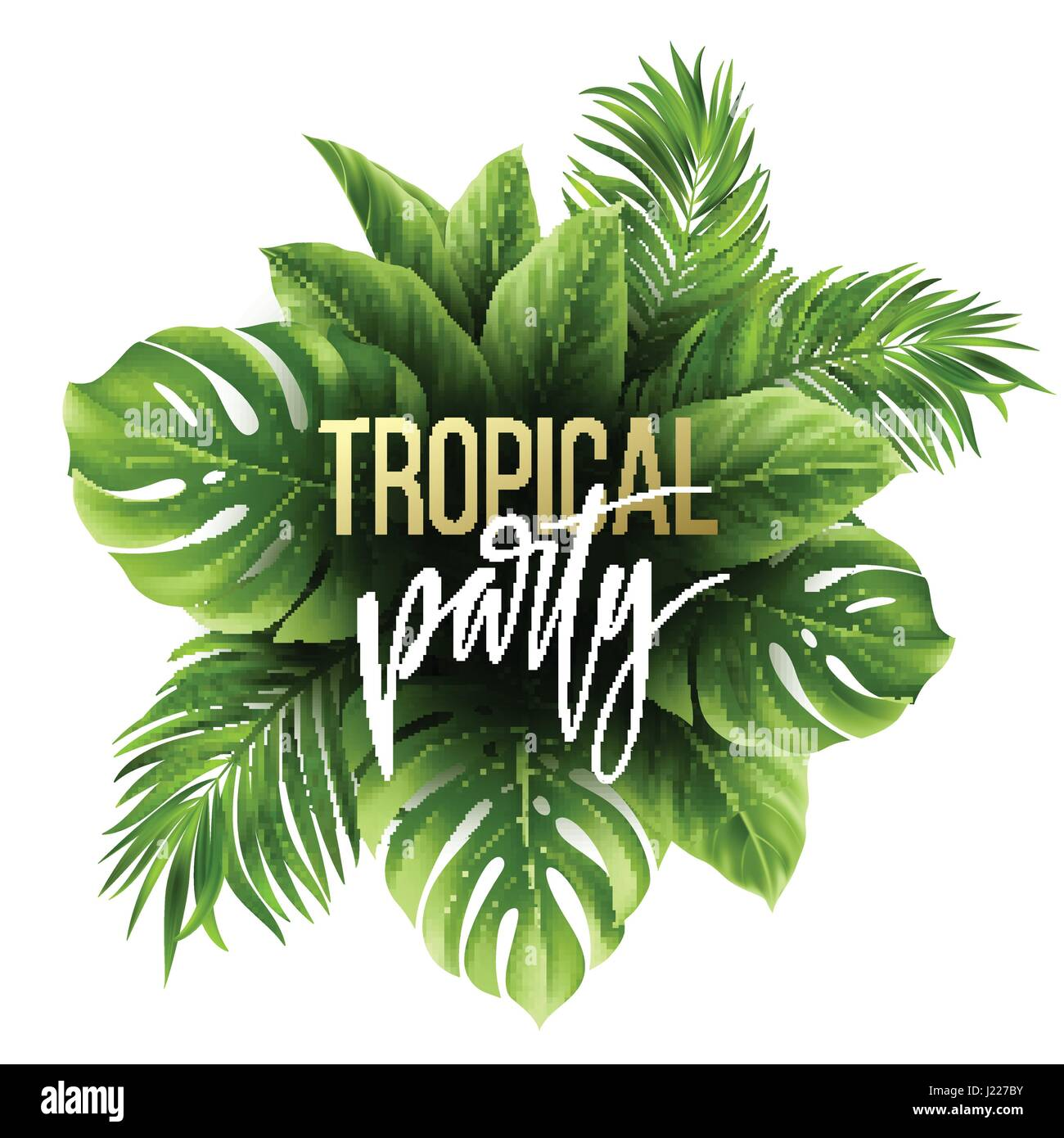 summer tropical leaf background with exotic palm leaves party flyer