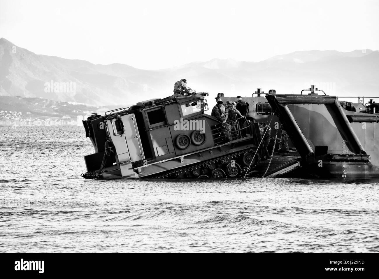 Royal Marines amphibious landings at Eastern Beach in Gibraltar. Photographer Stephen Ignacio at Eastern Beach, - Stock Image