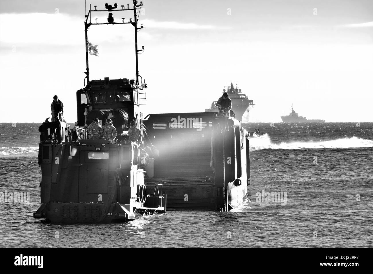 Royal Marines amphibious landings at Eastern Beach in Gibraltar. Photographer Stephen Ignacio at Eastern Beach, - Stock Image